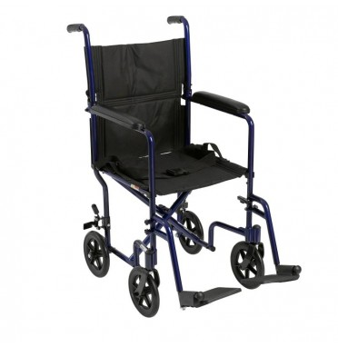 "A wide 19"" transport wheelchair with half folding back viewed side on"