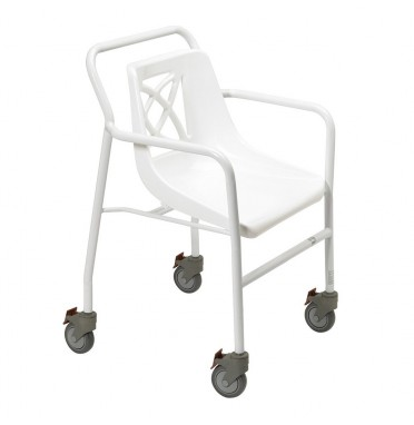 Days Mobile Wheeled Shower Chair viewed from the side angle showing four locking castor wheels for safety