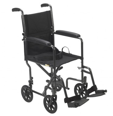 Drive Medical steel transport wheelchair viewed from the side