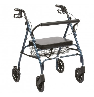 The Drive Medical Go Lite Heavy Duty Rollator in blue viewed side on