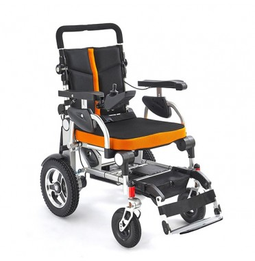 K5 Folding Powerchair shown at 45 degrees side view
