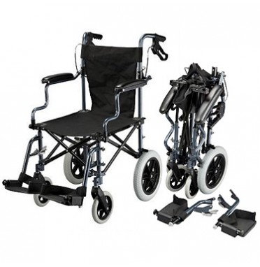 A compact folding transport wheelchair for travel
