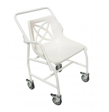 Wheeled mobile shower chair with detachable arms viwed side on showing the strong steel frame