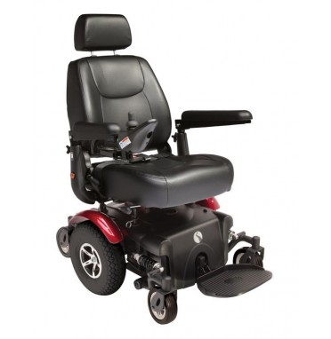Rascal P327 XL Powerchair in red showing six wheels