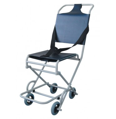A lightweight transport wheelchair viewed from an angle showing all 4 castors