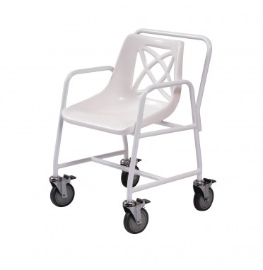 Roma Medical wheeled mobile shower chair displaying the angled seat and locking castor wheels
