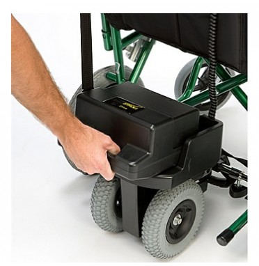 S Drive Powerstroll Twin Wheel Power Pack fitted to the wheelchair