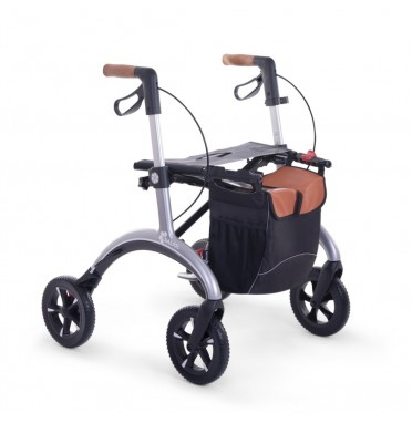 A saljol rollator in solver with Carbon fibre frame