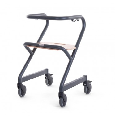 Anthracite colured Page rollator viewed from side angle showing all 4 castor wheels