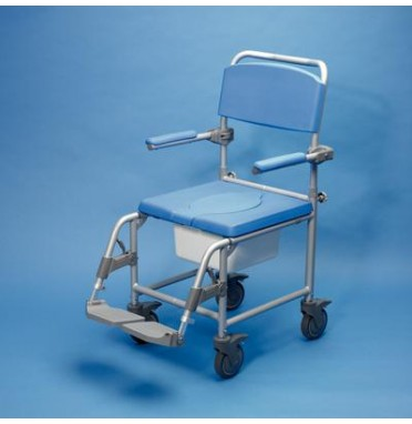 Commode shower chair with foot rests, locking castor wheels, padded arm rests and comfy looking seat