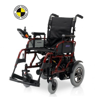 Sirocco electric wheelchair shown in red without cushion