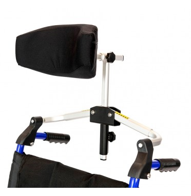 A luxury head rest for wheelchairs viewed from the side