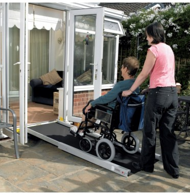 Telescopic wheelchair ramp pictures in use over a door threshold