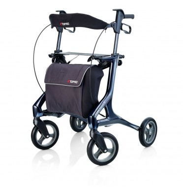 TOPRO Pegasus carbon rollator with white frame and large shopping bag