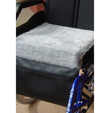 Wheelchair Seat Fleece Cushion fitted to wheelchair