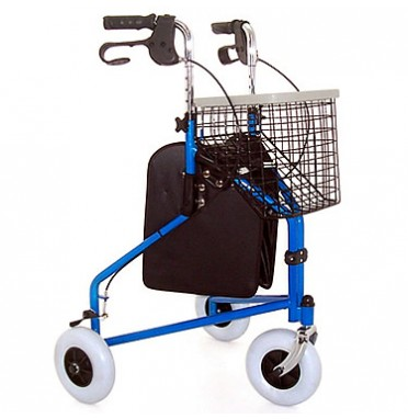 A steel wheeled walker with brakes & basket