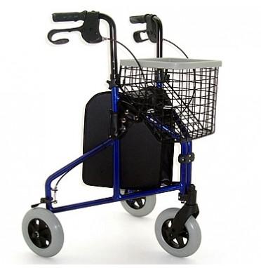 Lightweight Steel Tri Walker With Basket & Bag