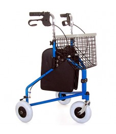 Lightweight Z-Tec Folding Steel Tri-Walker With Basket Tray & Bag