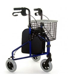 Lightweight Steel Tri Walker With Basket & Bag