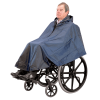 A man wearing a weatherproof wheelchair poncho cape in blue