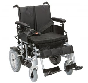 The Cyrus electrci wheelchair shown from the side view
