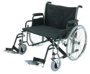 An extra wide heavy duty wheelchair viewed from the side