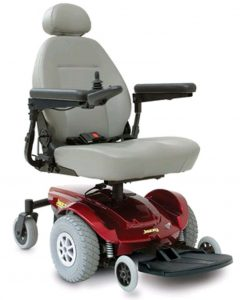 The Jazzy Select 6 electric wheelchair with 6 wheels