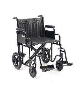 An extra wide bariatric transit wheelchair